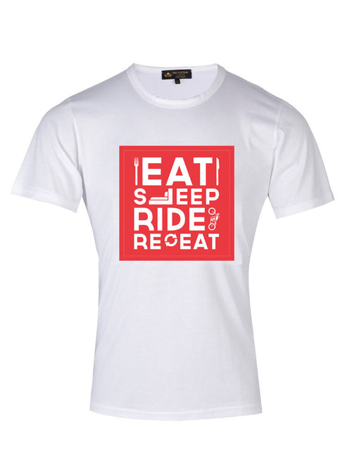 TCL Eat Sleep Ride Repeat Slogan Red T-shirt