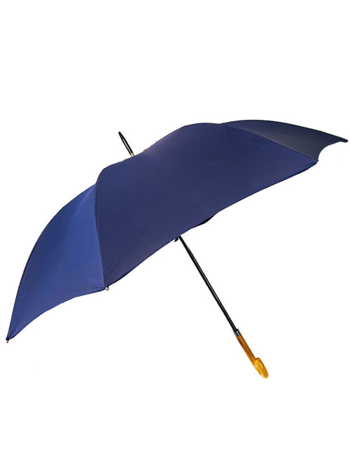 The Cotton - French Navy Crook Wooden Handle Umbrella