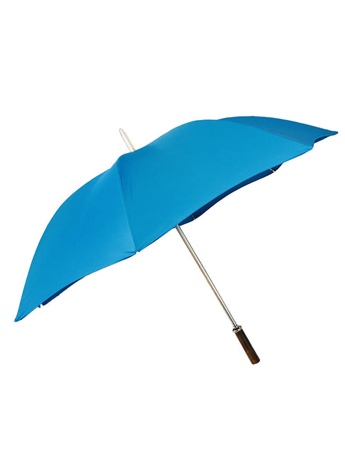 The Cotton- Kingfisher Straight Chestnut Handle Umbrella - 01