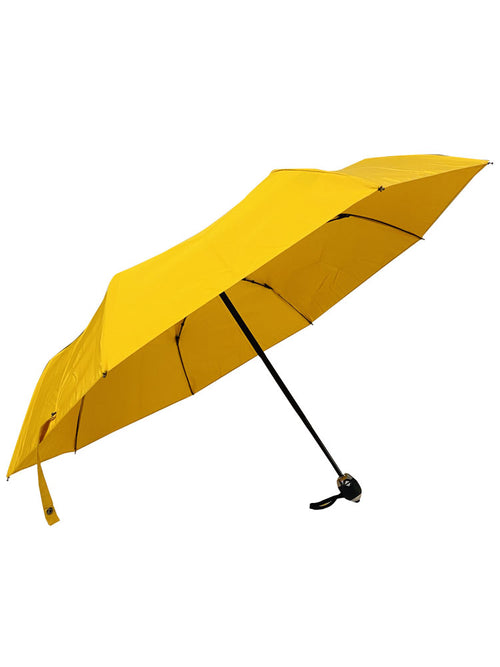The Cotton- Yellow Straight Black & Silver Metal handle Umbrella