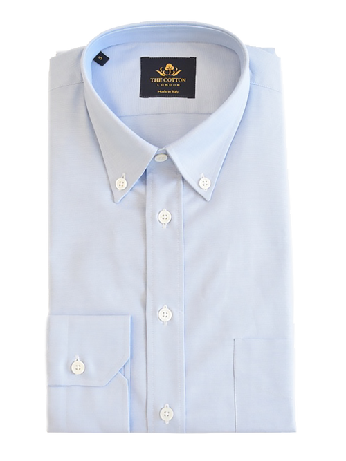 Smart-casual light blue shirt in Thomas Mason® Oxford fabric