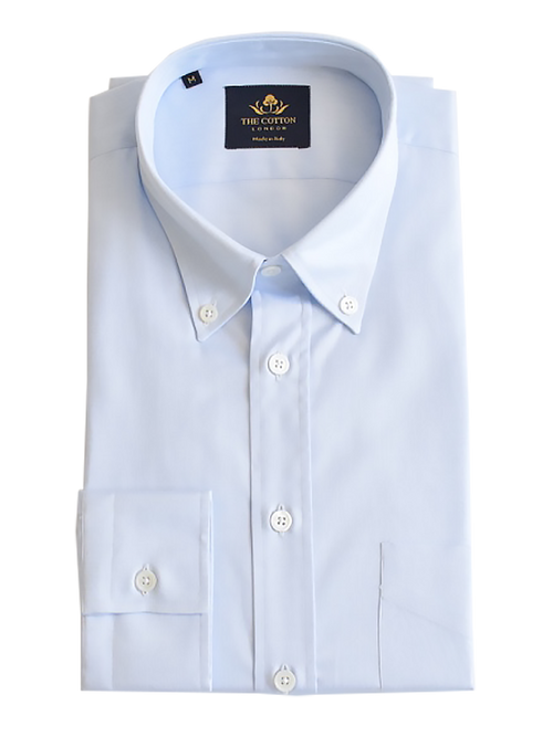 Smart-casual light blue shirt in Thomas Mason® Cambridge fabric