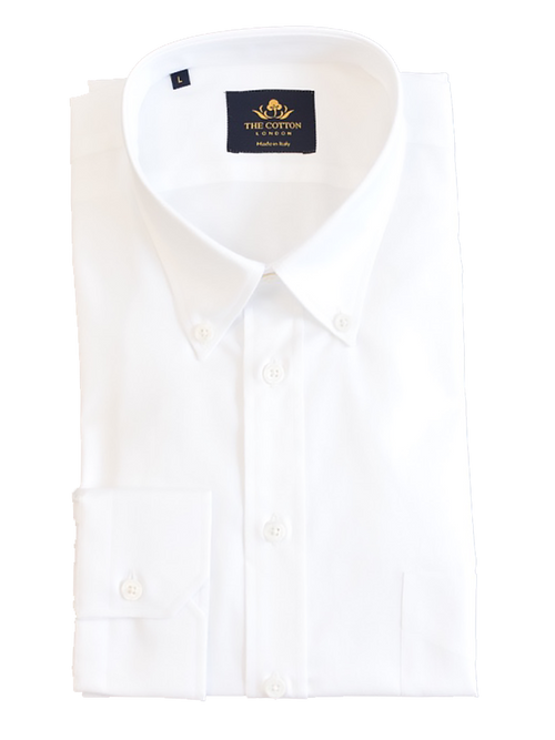 Smart-casual white shirt in Thomas Mason® Royal Oxford fabric