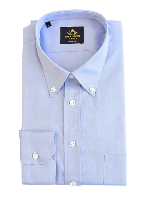 Smart-casual light blue shirt in Thomas Mason® Royal Oxford fabric