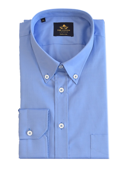 Smart-casual mid blue shirt in Thomas Mason® Royal Oxford fabric