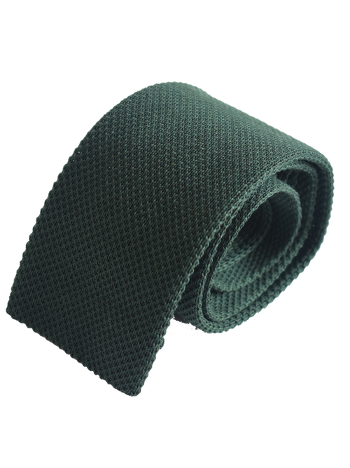 Diagonal square weave plain cotton knitted tie - Olive green