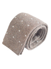 Compact weave pindot cotton knitted tie -Brown