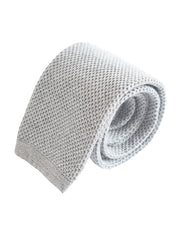 Compact weave plain cotton knitted tie - Grey