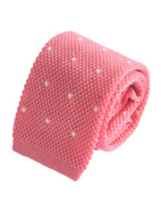 Compact weave pindot cotton knitted tie - Pink