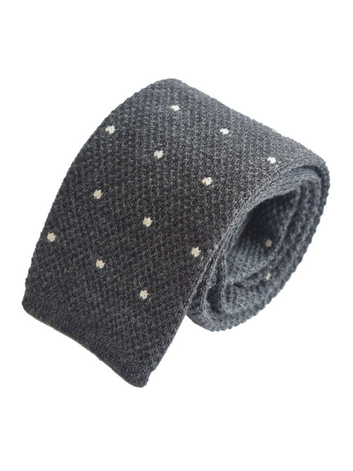 Compact weave pindot cotton knitted tie - Dark Grey