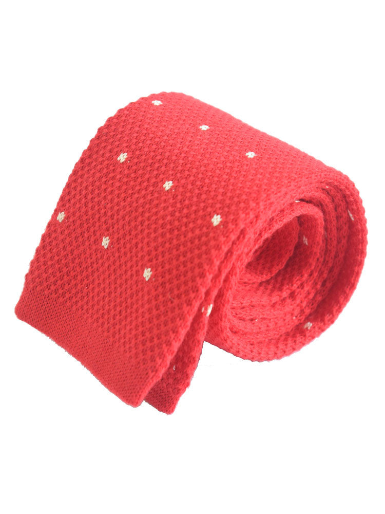 Compact weave pindot cotton knitted tie - Red