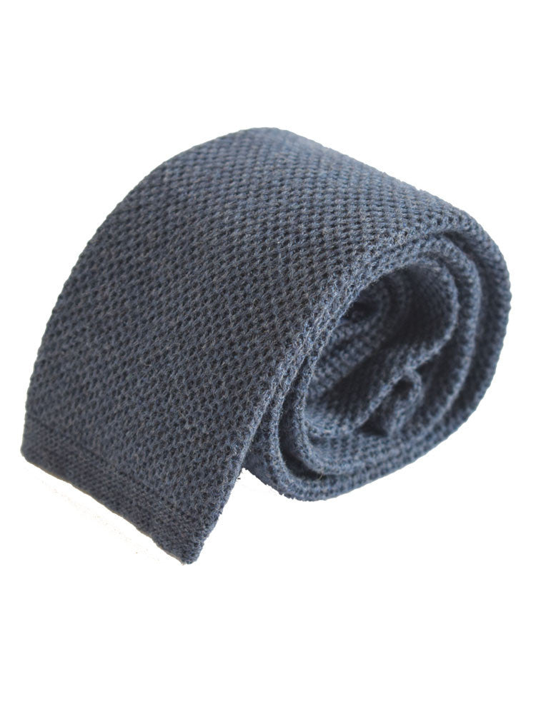 Compact weave plain cotton knitted tie - Navy