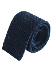 Raised texture open weave plain cotton knitted tie - Navy