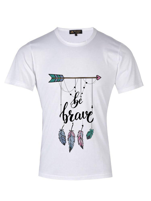 Be Brave Custom Text White T-shirt