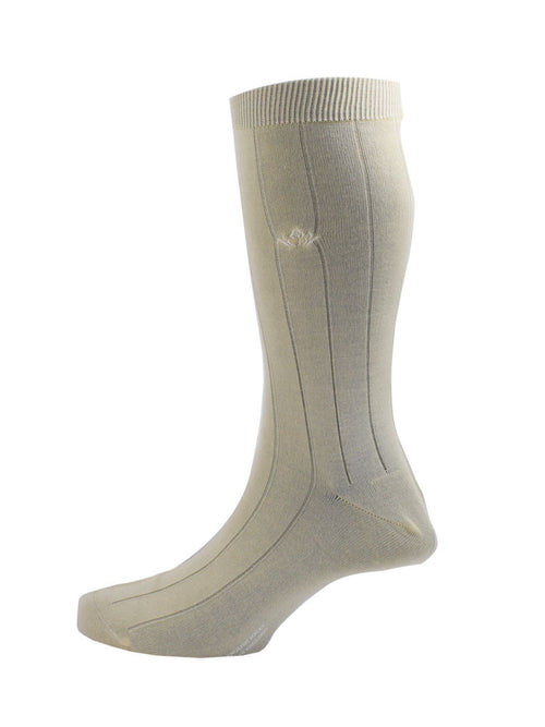 Broad ribbed luxurious Sea Island Cotton socks - Cream