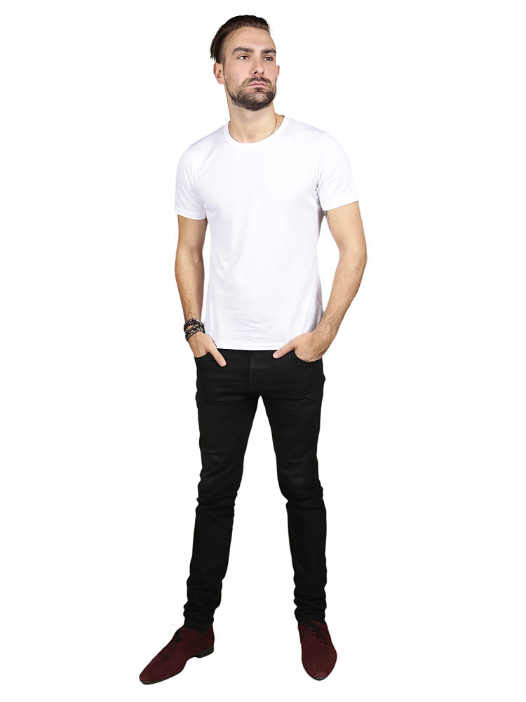 Model wearing Supima Cotton Short Sleeve Crew Neck - White t-shirt