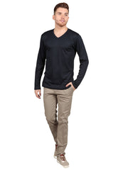 Male model wearing Supima cotton Long Sleeve V Neck - Navy t-shirt