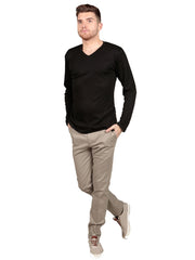 Model wearing Supima cotton Long Sleeve V Neck - Black t-shirt