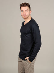 Luxurious Supima cotton Long Sleeve V Neck - Navy t-shirt