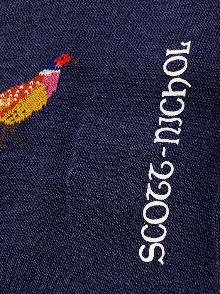 PHEASANT MOTIF SOFT COTTON SOCKS – NAVY
