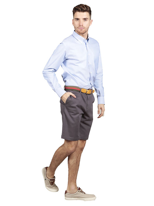 Model wearing slim fit chino shorts in Charcoal grey