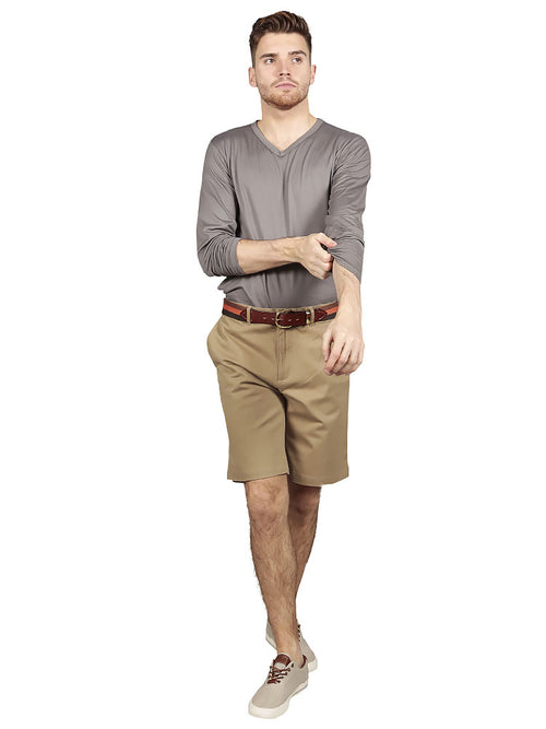 Model wearing slim fit chino shorts in khaki