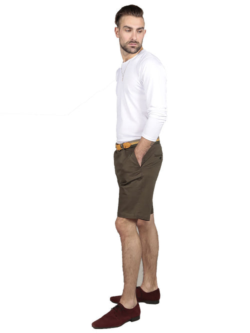 Model wearing slim fit chino shorts in olive green