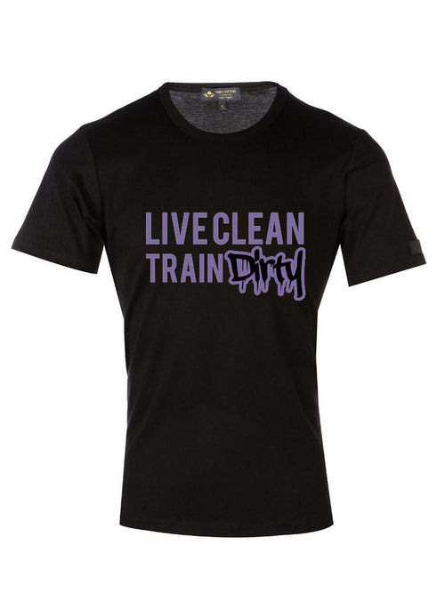 Supima Cotton 'Live Clean Train Dirty' slogan T-shirt