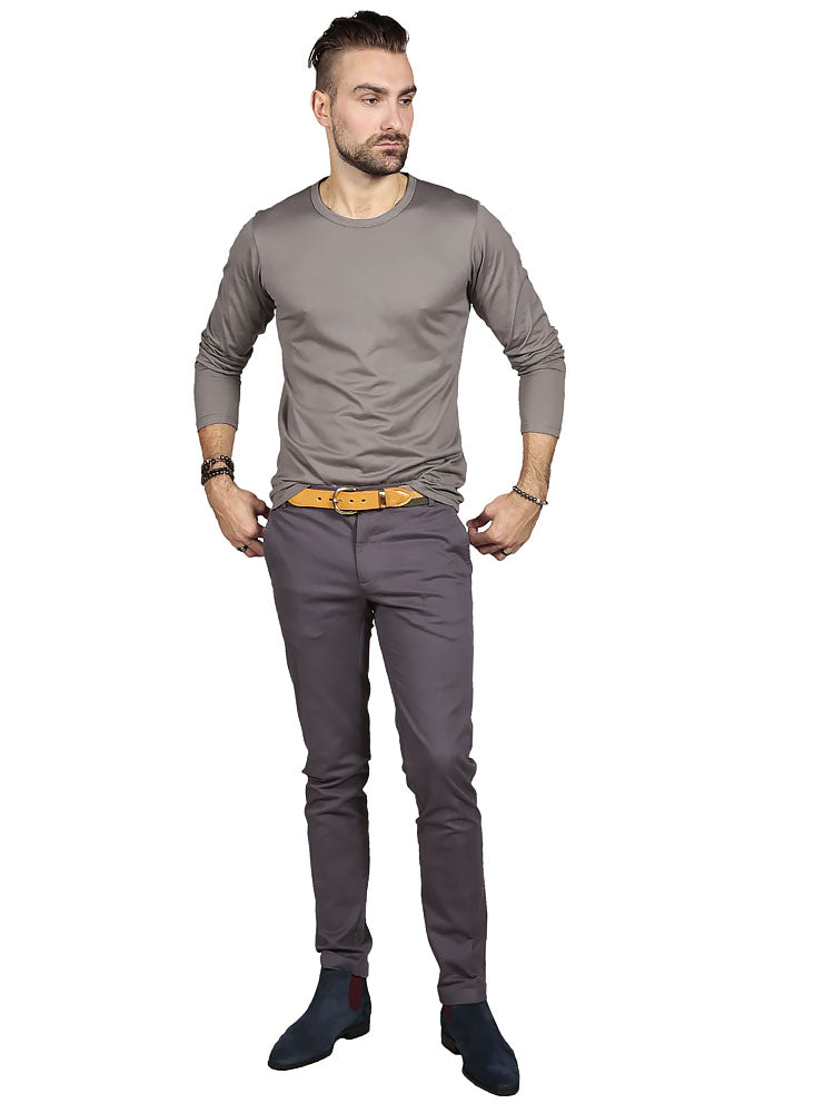 SLIM FIT CHINO TROUSERS – CHARCOAL GREY