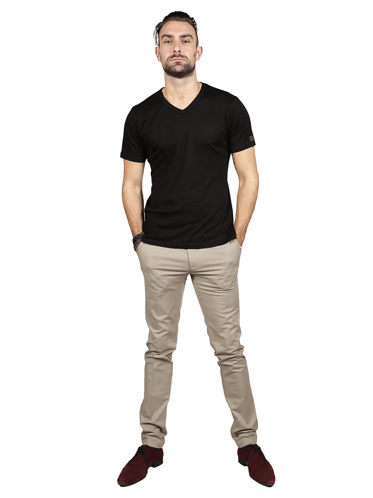 Model wearing Supima cotton Short Sleeve V Neck - Black t-shirt