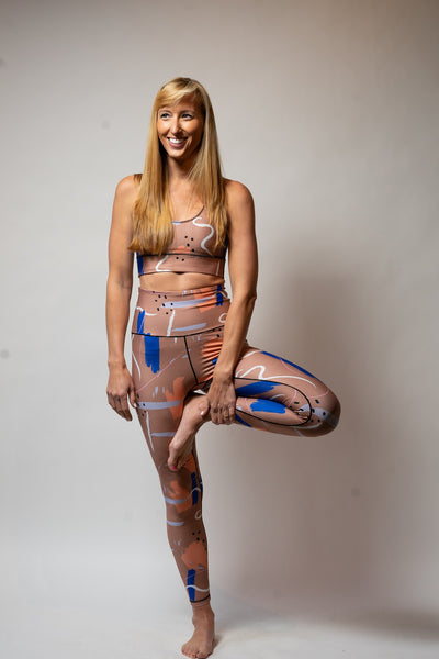 Waist Not Leggings - Brushstrokes Print