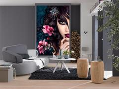 Seductive lady and rose wall mural