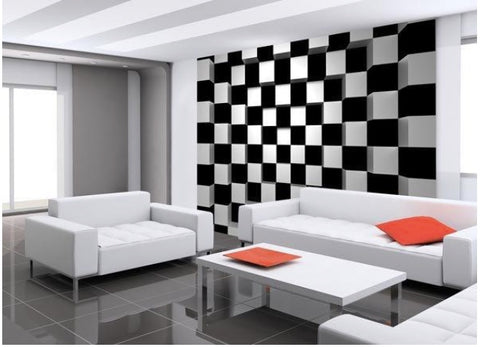 Black & White Squares Adhesive Wall Mural