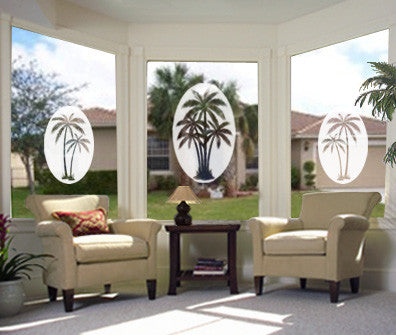 Oval Palm Tree Left Side | Static Cling