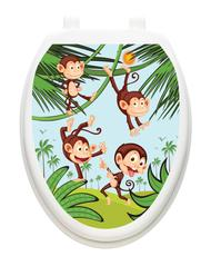 monkey business toilet tattoo decal