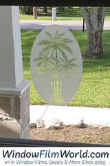 oval palm tree static cling window film