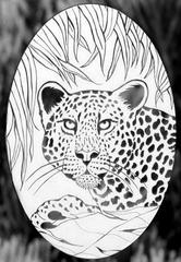 oval leopard etched glass decals
