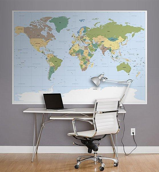 Worldmap Wall Mural - Window Film World