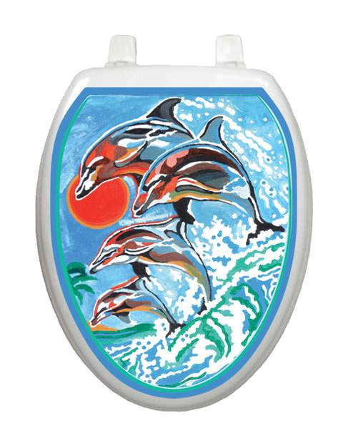 Dolphins Swimming Toilet Tattoos - Window Film World