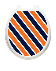 Collegiate Stripe Navy and Orange | Toilet Tattoos - Window Film World