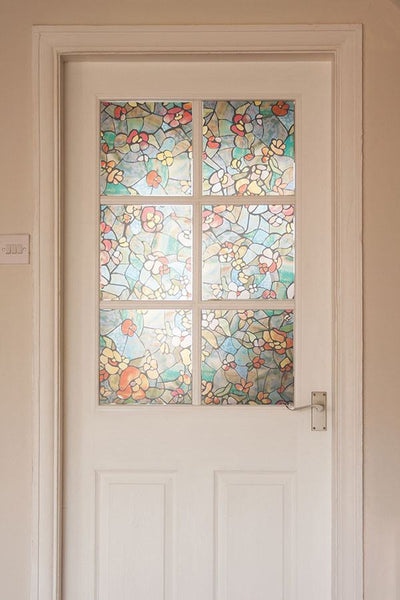 Venetian Garden Stained Glass Window Film Privacy Peel