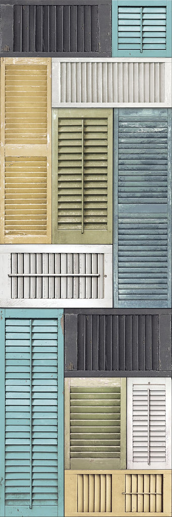 Salvaged Shutter Mural Blue Distressed Wood - Window Film World