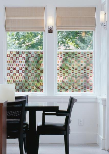 Klimt Red Decorative Window Film | Semi-Privacy (Static Cling) - Window Film World