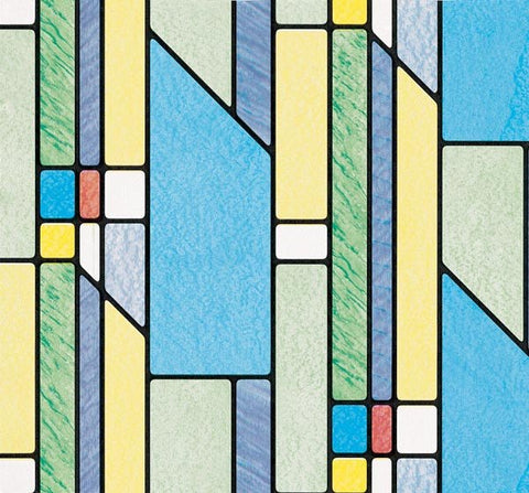 geometrics stained glass adhesive window film window film world - Decorative Window Film Stained Glass