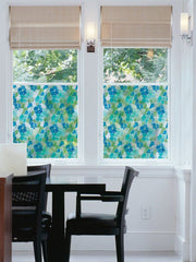 Blue And Green Stained Glass Film Semi Privacy (Adhesive) - Window Film World
