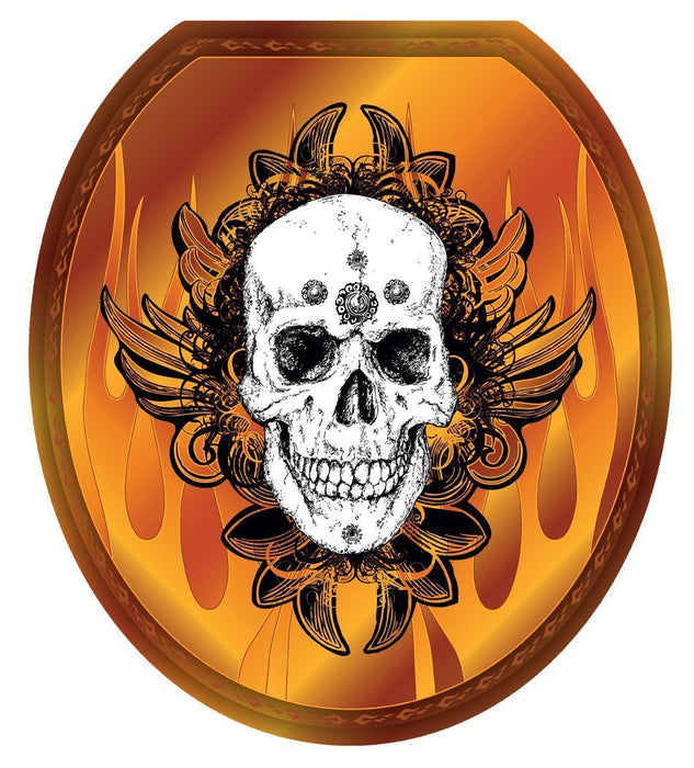 Skull Flames Toilet Tattoos - Window Film World