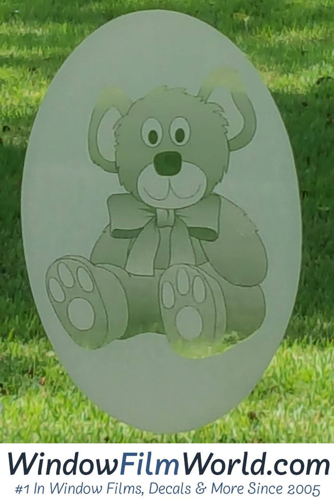 "4""X6"" Oval Teddy Bear Etched Glass Decal 