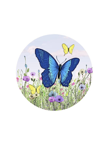 Blue Butterfly Glass Door Decal - Window Film World
