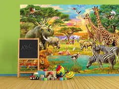 On Safari Wall Mural - Window Film World