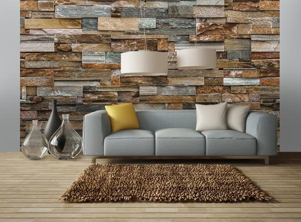 Colorful Stone Wall Mural - Window Film World